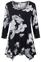 kissmay Women's Plus Size 3/4 Sleeves Tunics Top Floral Print Summer Casual Blouse