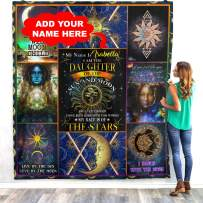 Personalized Name Daughter of Sun and Moon Quilt Fleece Throw Blankets Tapestry Christmas Birthday Wedding Anniversary Stay Wild Moon Child Sign Custom Gifts from Mom Dad Mother Father Mommy Daddy