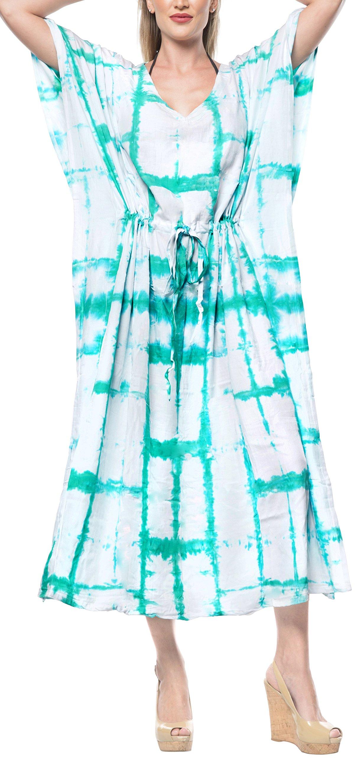 LA LEELA Women's Plus Size Caftan Nightwear Swimwear Cover Up Dress Drawstring