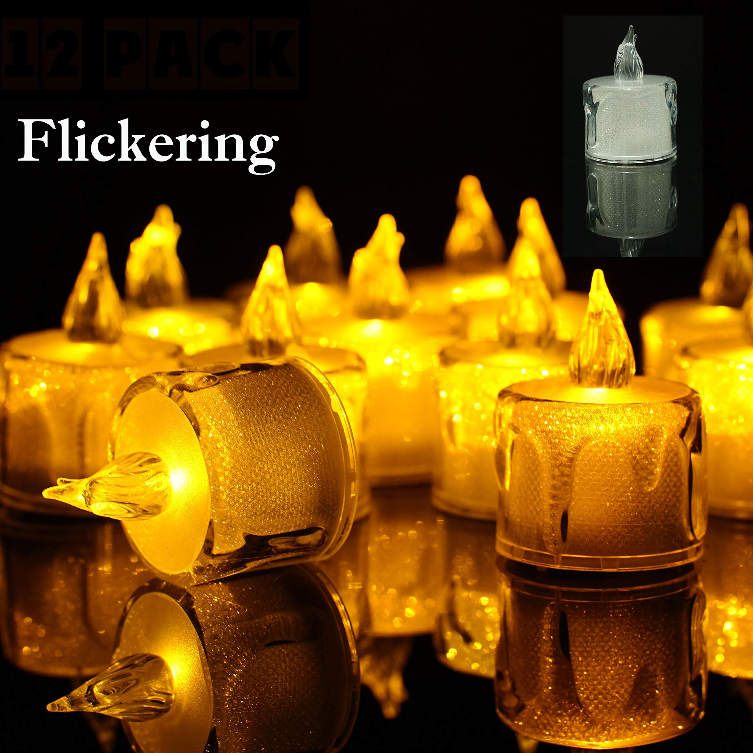 StarryMine Flameless LED Tea Light Candles Battery-Powered Unscented LED Tealight Candles, Fake Candles, Tealights 12 Pack for DIY Lighting Indoor Bedroom Party Wedding Christmas Halloween Decor
