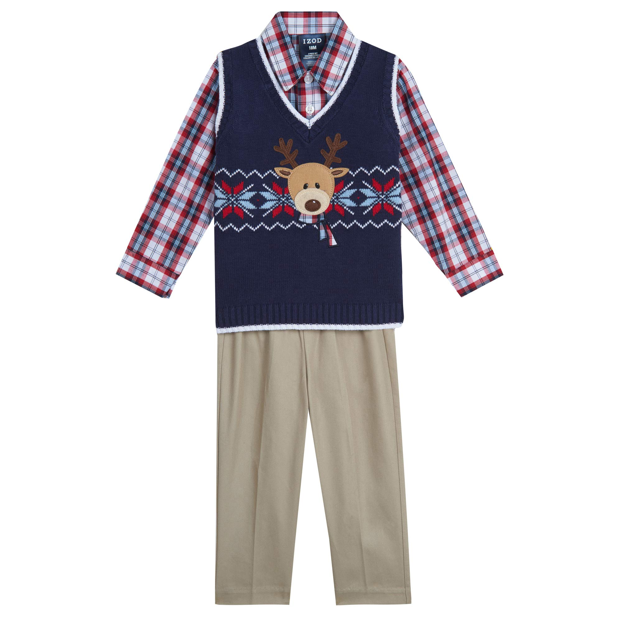 Izod Baby Boys 3-Piece Sweater Vest, Dress Shirt, and Pants Set