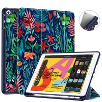 """Fintie SlimShell Case for New iPad 7th Generation 10.2 Inch 2019 with Built-in Pencil Holder - Smart Stand Soft TPU Back Cover, Auto Wake/Sleep for iPad 10.2"""" Tablet, Jungle Night"""