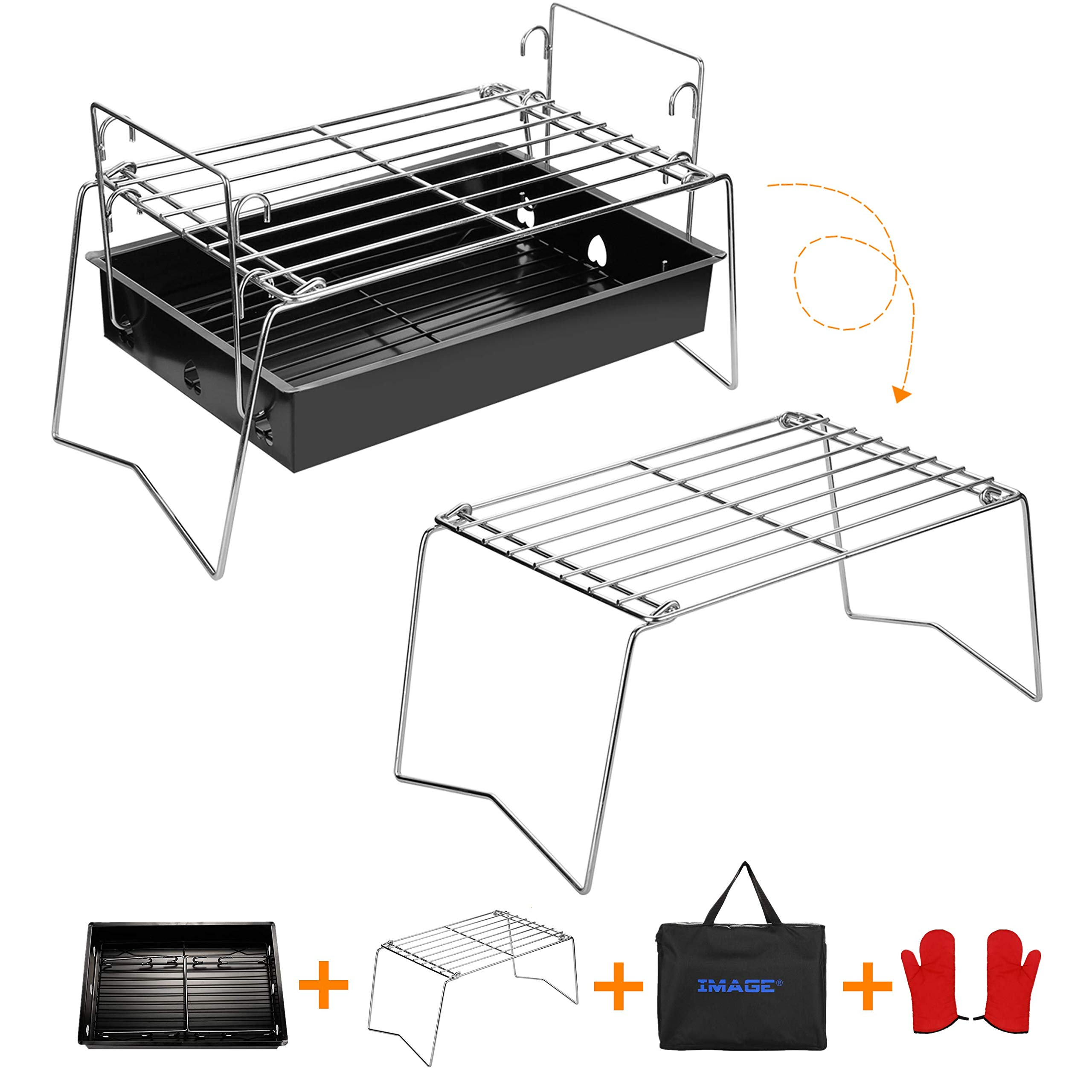 IMAGE Charcoal Grill Camp Grill Mini Grill Folding Campfire Grill Portable Grill Lightweight Steel Mesh Barbecue Grill Camping Grill for Outdoor Camping Cooking Hiking Tailgating Backpacking Party