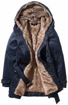 Beinia Valuker Women's Winter Trench Coat with Detachable Fur Lined Hooded Parka