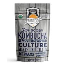 Jun Kombucha Starter Culture - USDA Certified Organic Jun SCOBY & Starter Tea - Makes 1 Gallon - Brewed with Organic Green Tea & Honey - Brew Jun Tea!