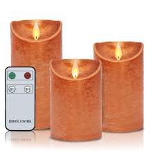"""Flameless Candles Moving Flame Led Candles with Remote H4""""5""""6"""" xD3"""" Set of 3 Real Wax Battery Operated Decorative Orange Candles with Timer Copper"""