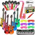20 Pack Inflatable Rock Star Toy Set Music Instruments Party Props 6 Inflatable Guitars, 6 Inflatable Microphones, 6 Shutter Shading Glasses, 1 Inflatable Piano and 1 Inflatable Saxophone (22 Pack)