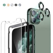 JOLOJO iPhone 11 Pro Max Screen Protector 6.5inch(2 Pack with Frame)+Set of 3 Camera Lens Screen Protector for iPhone 11 Pro Max - Midnight Green