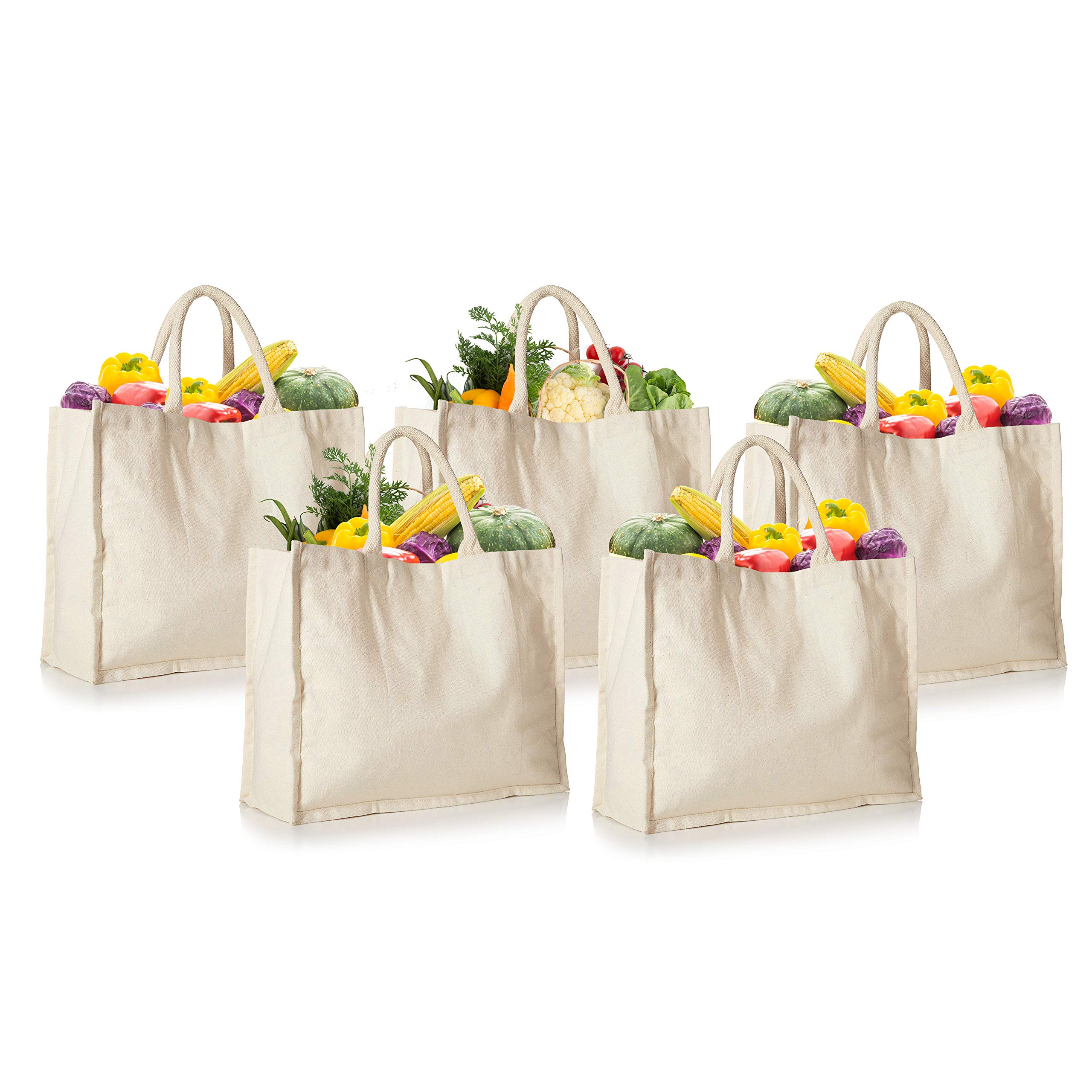 5 Pack Canvas Grocery Bags, 100% Canvas Shopping Bags Reusable Washable with Cotton Web Handle, 16.5 Inches Wide, 13 inches tall, 7 inches wide Gusset, Ivory Colour