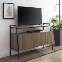 """Walker Edison Arlo Modern Industrial Wood Universal Stand with Open TV's up to 58"""" Flat Screen Living Room Storage Entertainment Center, 52"""", Mocha Brown"""