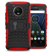 Moto G5 Case, CoverON [Atomic Series] Hybrid Armor Cover Tough Protective Hard Kickstand Phone Case for Motorola Moto G5 / Moto G 5th Generation - Red/Black