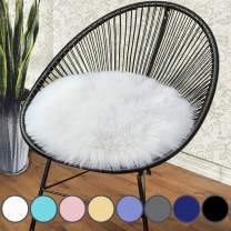 junovo Premium Soft Round Faux Fur Sheepskin Seat Cushion Chair Cover Plush Area Rugs for Bedroom, 18 x 18inch, White
