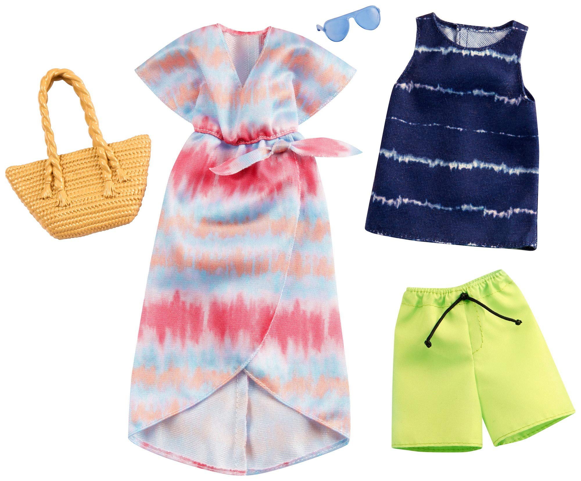 Barbie Fashion Pack with 1 Outfit of Tie-Dye Dress & 1 Accessory Doll & Striped Tie-Dye Tank, Shorts & Accessory for Ken Doll, Gift for 3 to 8 Year Olds