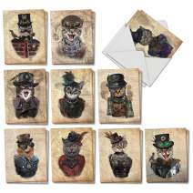 The Best Card Company - 20 Adorable Cat Greeting Cards (4 x 5.12 Inch) - Blank Assortment (10 Designs, 2 Each) - Steampunk Cats AM6554OCB-B2x10