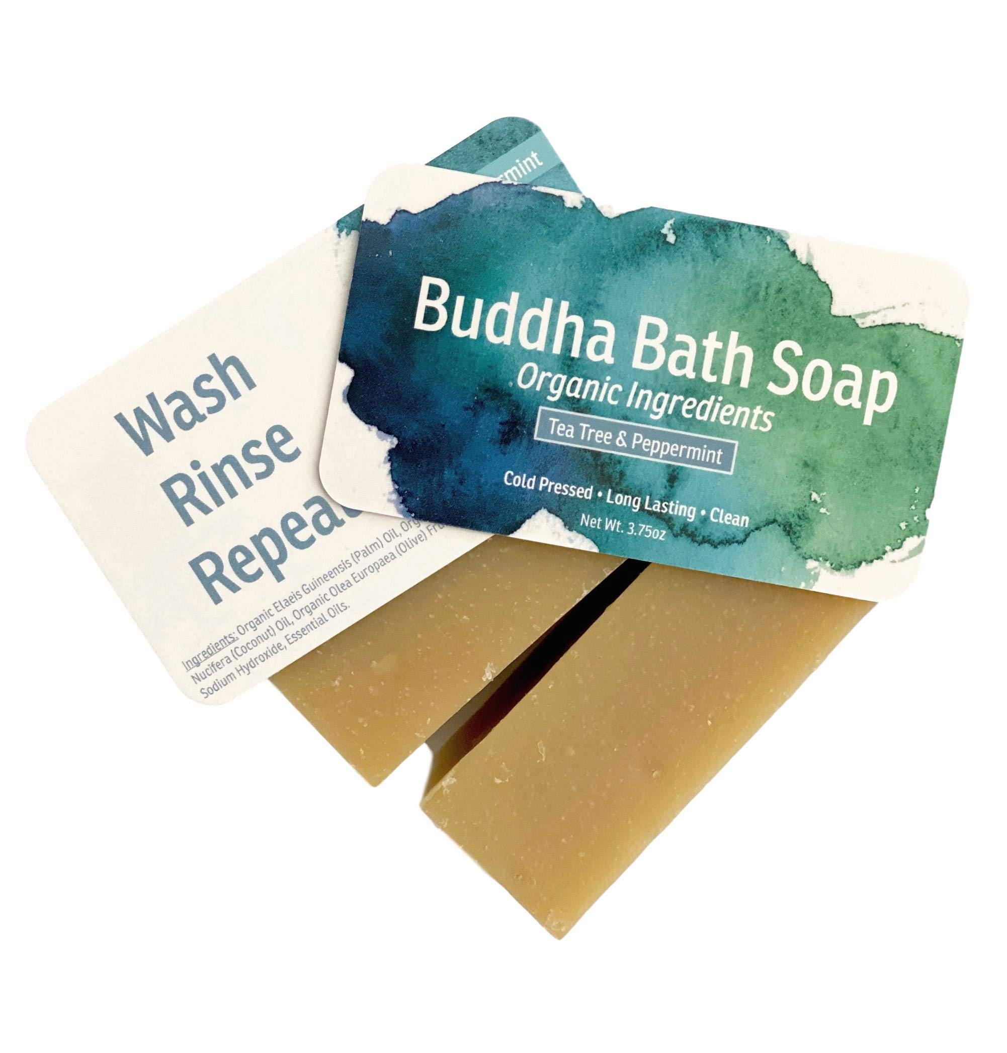 Buddha Bath Tea Tree & Peppermint Hand Face & Body Soap - Helps Acne, Athlete's Foot, Ringworm, Jock Itch. All Natural - Cold Pressed - Organic - All Natural - for Men and Women(2 Bars)