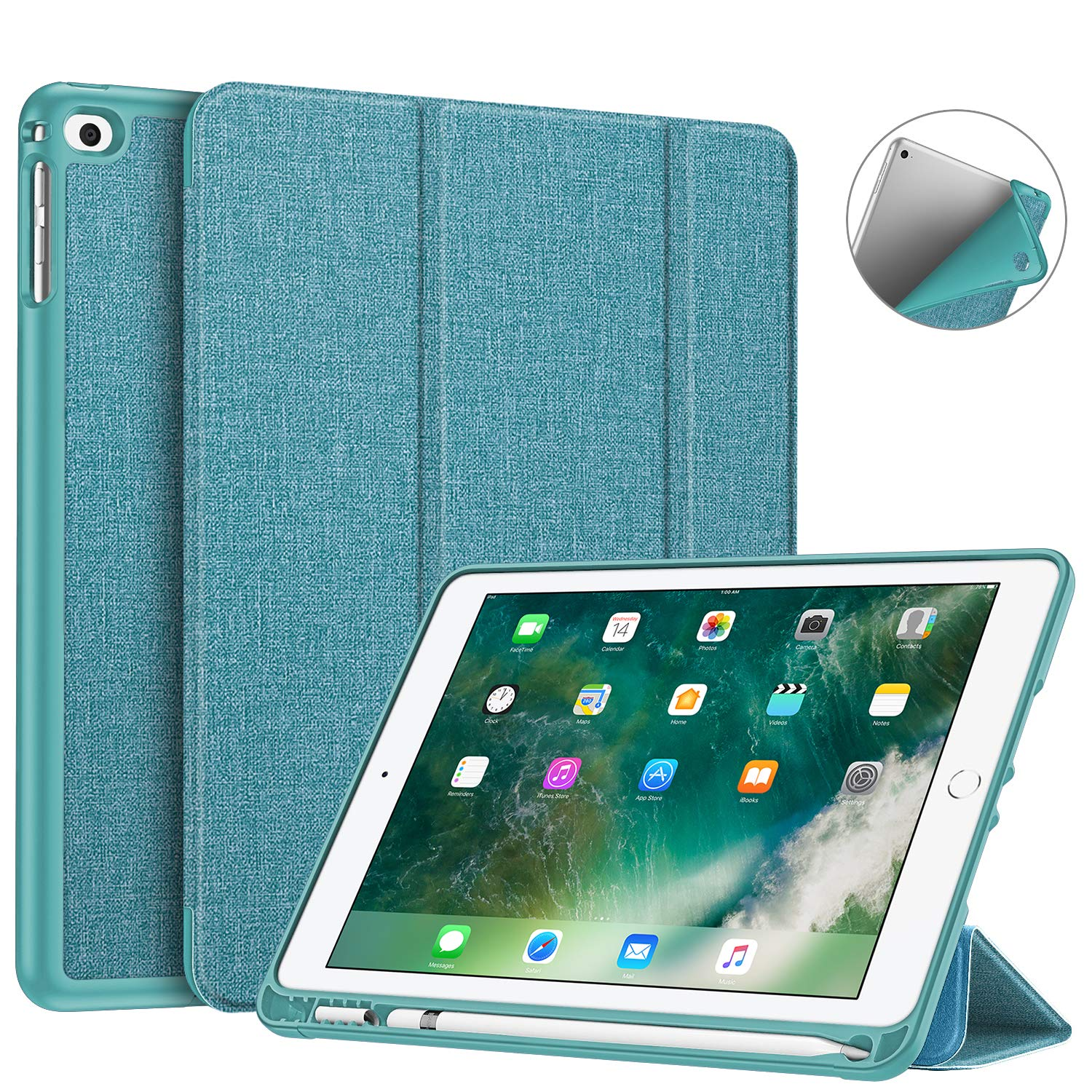 Fintie Case with Built-in Pencil Holder for iPad 9.7 2018 2017 / iPad Air 2 / iPad Air - [SlimShell] Lightweight Soft TPU Back Protective Cover w/Auto Wake Sleep, Light Green