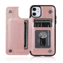 ACXLIFE iPhone 11 Case 11 Wallet Credit Card Holder Case,Protective Cover with Card Slot Holder and Leather Case for iPhone 11 6.1 Inch (Rosegold)
