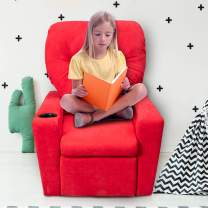 GOOD & GRACIOUS Kids Recliner Chair with Cup Holder Toddler Baby Child Upholstered Recliner for Boys and Girls, Red