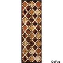 """Superior Modern Viking Collection Area Rug, 10mm Pile Height with Jute Backing, Chic Textured Geometric Trellis Pattern, Anti-Static, Water-Repellent Rugs - Coffee, 2'7"""" x 8' Runner"""