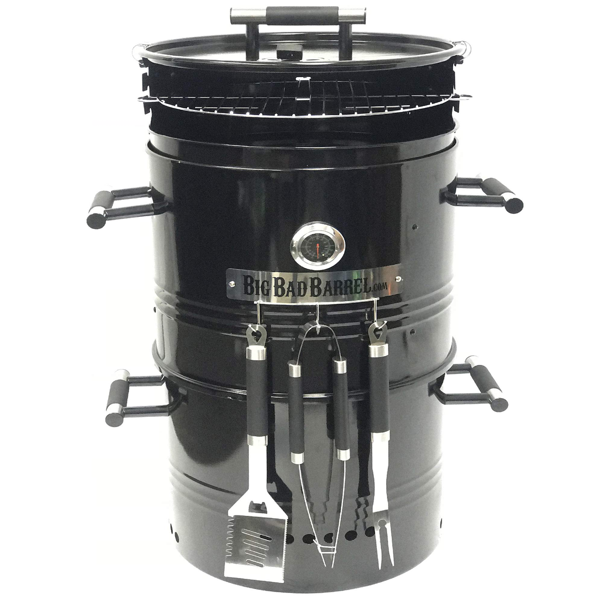 EasyGoProducts Big Bad Barrel Pit Charcoal Barbeque 5 in 1 Can be Used as a Smoker Grill BBQ, Pizza Oven, Table & Fire Pit.18-Inch Diameter-3 pcs Tool, Set