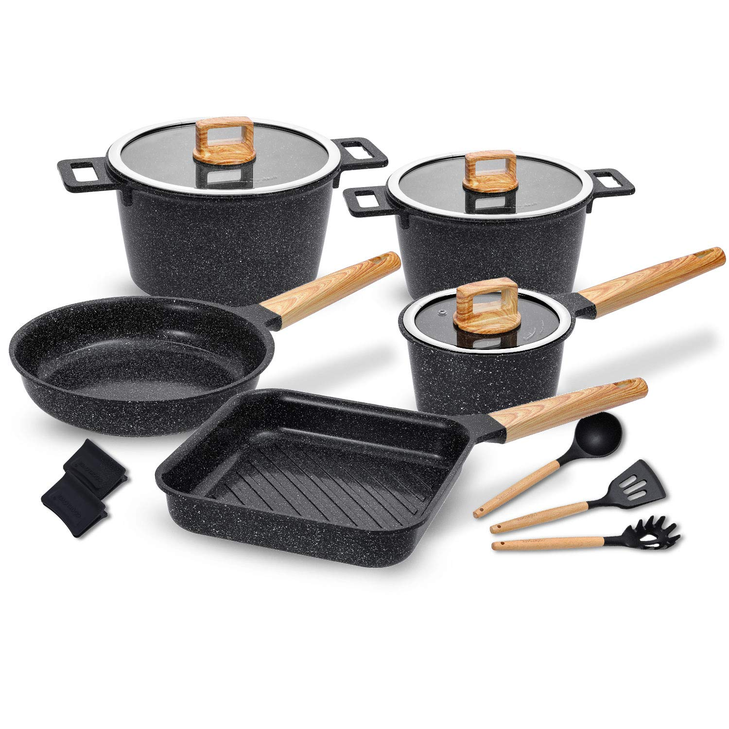 Ceramic Cookware Set Non-Stick Dishwasher Safe Scratch Resistant 100% PFOA Free Induction Aluminum Pots and Pans Set with Cooking Utensil Pack -13 - Black