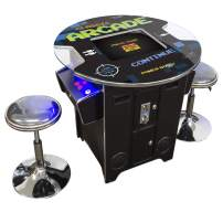 Creative Arcades Full-Size Commercial Grade Cocktail Arcade Machine | 60 Classic Games | 2 Sanwa Joysticks | 2 Stools | 3-Year Warranty | Round Glass Top