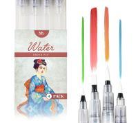 MozArt Supplies Water Brush Pens - Set of 4 Brush Tips - Great for Watercolor Paints, Water Soluble Pencils, Brush Pen, Markers - Refillable Brush Pens - Aqua Pen, Art Brushes