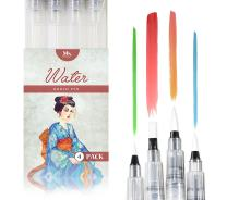 MozArt Supplies Water Brush Pens - Set of 4 Brush Tips - Great for Watercolor Paints, Water Soluble Pencils, Brush Pen, Markers - Refillable Brush Pens - Aqua Pen, Art Brushes