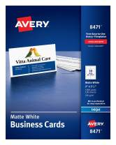 """Avery 2"""" x 3.5"""" Business Cards, Sure Feed Technology, for Inkjet Printers, 1,000 Cards (8471), Matte White"""