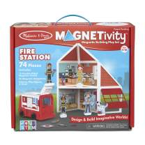 Melissa & Doug Magnetivity Magnetic Tiles Building Play Set – Fire Station with Fire Truck Vehicle (74 Pieces, STEM Toy)