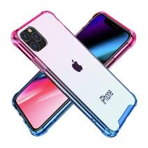 BAISRKE iPhone 11 Pro Max Case, Slim Shock Absorption Protective Cases Soft TPU Bumper & Hard Plastic Back Cover for iPhone 11 Pro Max 2019 [6.5 inch] - Pink Blue Gradient