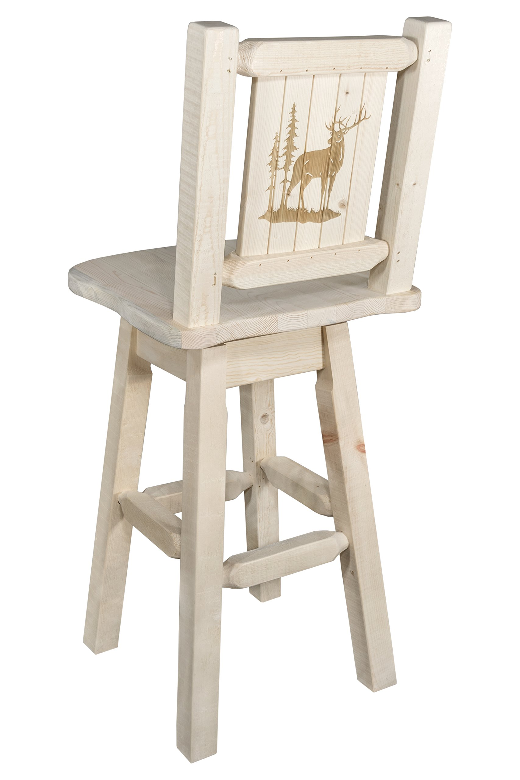 Montana Woodworks Homestead Collection Barstool with Back & Swivel, Laser Engraved Elk Design, Clear Lacquer Finish