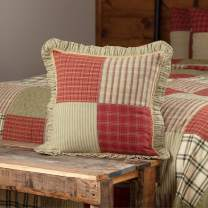 """VHC Brands 34626 Classic Country Farmhouse Pillows & Throws-Prairie Winds Red Patchwork 18"""" x 18"""""""