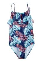 ALove Girls Ruffle One Piece Swimsuit Geometric Swimwear Tree Leaf Bathing Suit