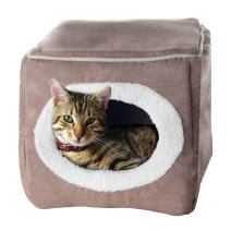 PETMAKER Cave Pet Bed - Soft Indoor Enclosed Covered Cavern/House for Cats, Kittens, and Small Pets with Removable Cushion Pad