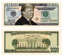 American Art Classics Donald Trump 2020 Re-Election - Pack of 100 - Presidential Dollar Bill - Limited Edition Novelty Dollar Bill. Full Color Front & Back Printing with Great Detail.