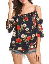 SoTeer Women's Cold Shoulder Loose Fit Floral Shirts Long Sleeve Keyhole Tunic Tops