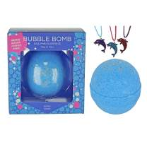 Dolphin Bubble Bath Bomb for Girls with Surprise Kids Necklace Inside by Two Sisters Spa. Large 99% Natural Fizzy in Gift Box. Moisturizes Dry Sensitive Skin. Releases Color, Scent, Bubbles.
