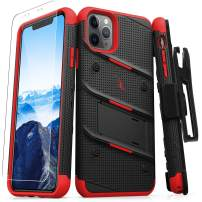 ZIZO Bolt Series iPhone 11 Pro Case - Heavy-Duty Military-Grade Drop Protection w/Kickstand Included Belt Clip Holster Tempered Glass Lanyard - Black/Red