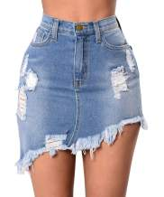 Women's Casual Denim Short Skirt Frayed Distressed Mini Jean Skirt