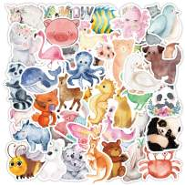 Cute Animal Stickers for Kids, Cartoon Animal Stickers for Water Bottle/Laptop, Watercolor Animal Stickers for Scrapbook Waterproof Vinyl Stickers Pack (80pcs)