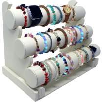 Hivory Faux Leather Bracelet Holder & Jewelry Stand ~ 3 Tier Rack Bracelet & Jewelry Display ~ Jewelry Organizer for Wrist Watches, Bangles & Bracelets (White)