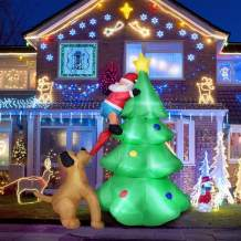 Evoio 6FT Christmas Inflatables Tree, Inflatable Santa Claus Climbing Tree Chased by Puppy Dog, Light Up for Home Outdoor Yard Lawn Garden Porch Decoration (green2)