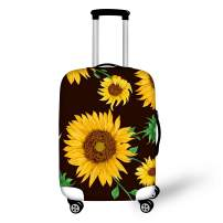 BIGCARJOB Retro Sunflower Print Protect Suitcase Cover Women Travel Luggage Cover Elastic for 26-28inches