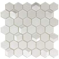 MTO0302 Modern Beveled Hexagon Beige White Glossy Metallic Glass Mosaic Tile
