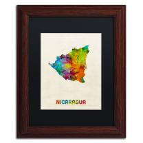 Nicaragua Watercolor Map by Michael Tompsett, Black Matte, Wood Frame 11x14-Inch