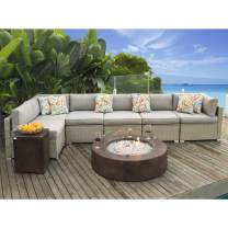 COSIEST 8-Piece Fire Pit Table Outdoor Wicker Sofa,Warm Grey Furniture Set w 42-inch Round Bronze Fire Table (50,000 BTU), Wind Guard and 20 Gallon Tank Outside for Garden,Pool,Backyard