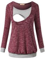 Baikea Maternity Round Neck Color Block Splice Long Sleeve Breastfeeding Tops