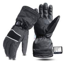 Evridwear Men Women Heated Thermal Gloves with Rechargeable Battery 3 Temp Levels Waterproof Goat Leather Palm for Cold Weather Skiing Snowmobile Motorcycle Sizes S-2XL
