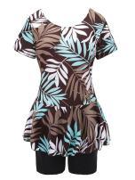 Knaspor One Piece Swim Dress Modest Swimsuit for Women Floral Leaf Print Short Sleeve Swimwear
